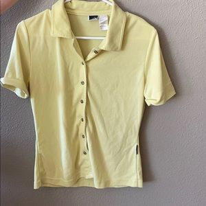 North face vintage button down yellow  shirt